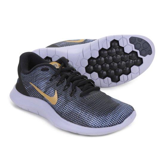 Tênis Nike Wmns Flex 2018 Rn Feminino - Preto+Dourado
