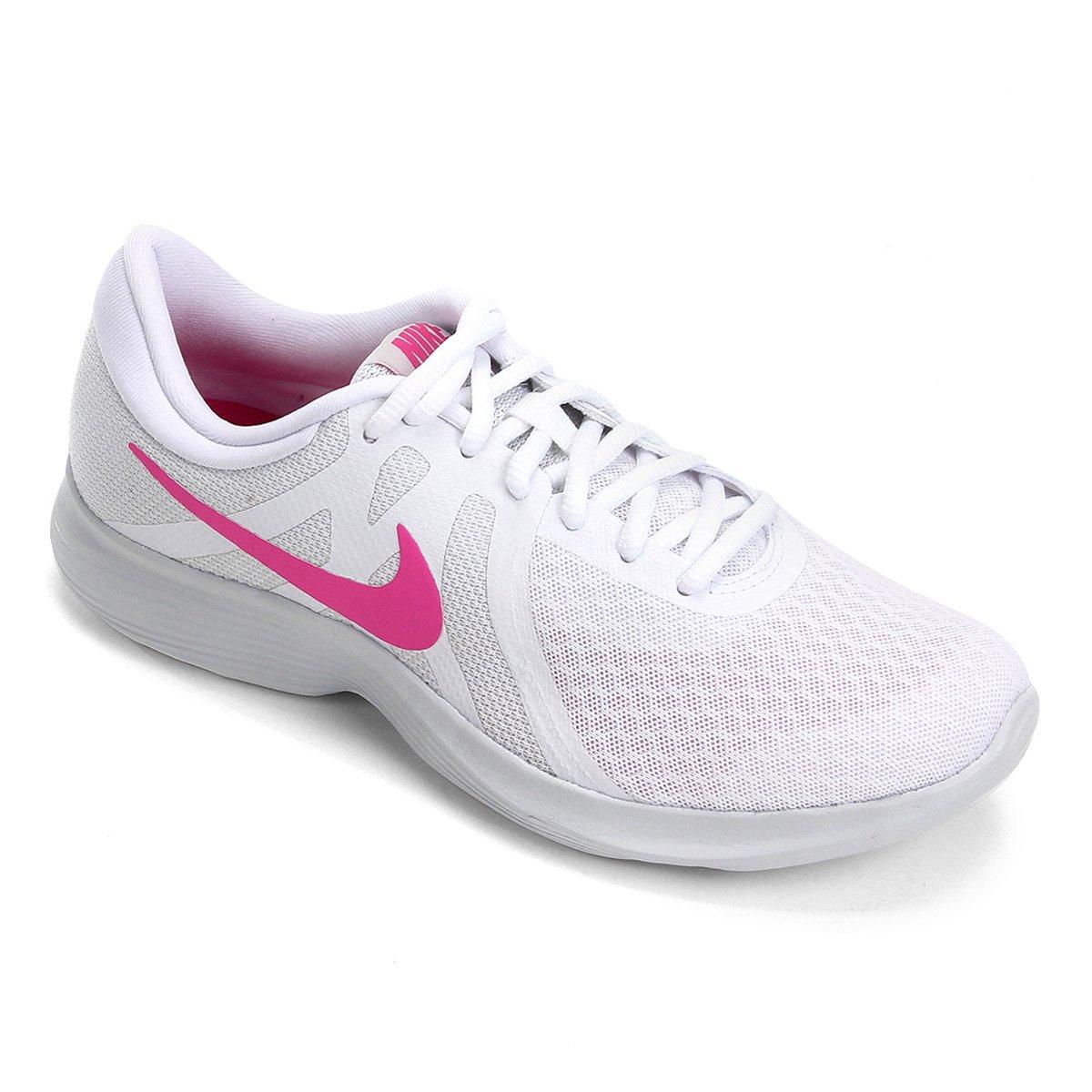 abe468ac3 Tênis Nike Wmns Revolution 4 Feminino - Branco e Rosa - Compre Agora ...