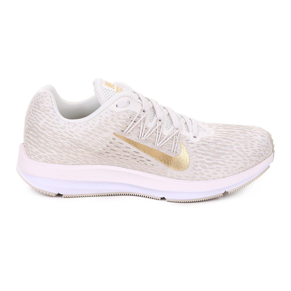 Tênis Nike WMNS Zoom Winflo 5 Feminino - Bege e Dourado - Compre . 00e49351b2528