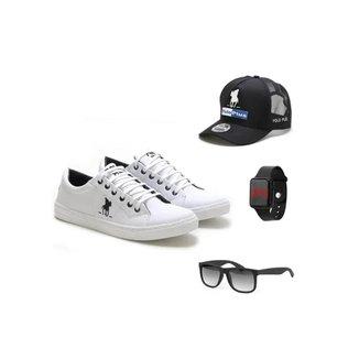Tênis Polo Masculino + Boné + Relógio + Óculos