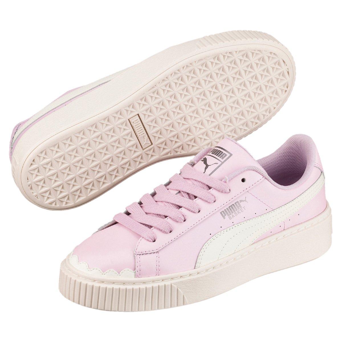 Tênis Puma Basket Platform Scallop Feminino Rosa e Branco