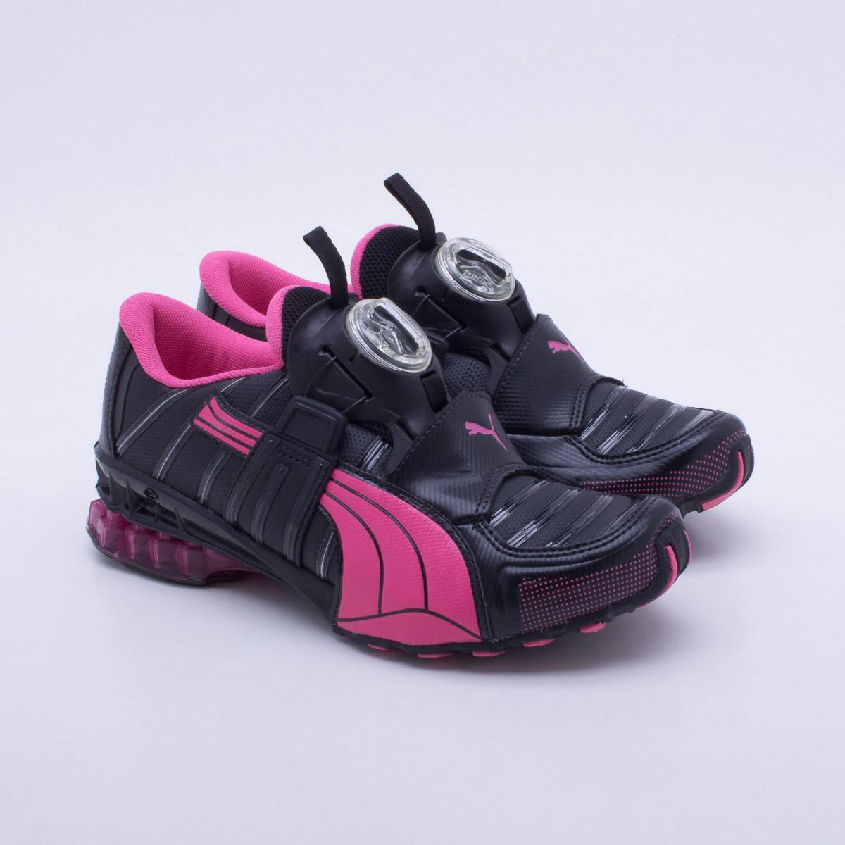 puma disc feminino preto e rosa