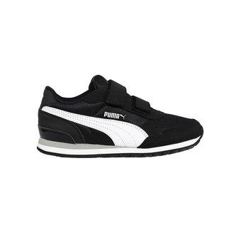 Tênis Puma St Runner V2 Mesh Infantil - Preto e Branco