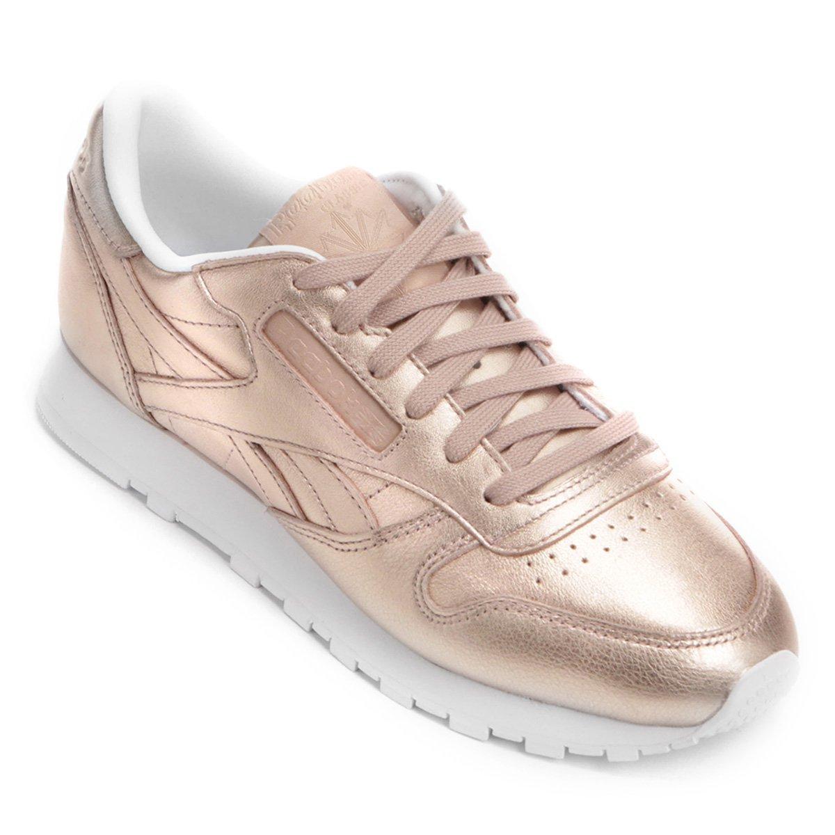 411e09e9d0 Tênis Reebok Cl Leather L Feminino - Ouro Rosa - Compre Agora