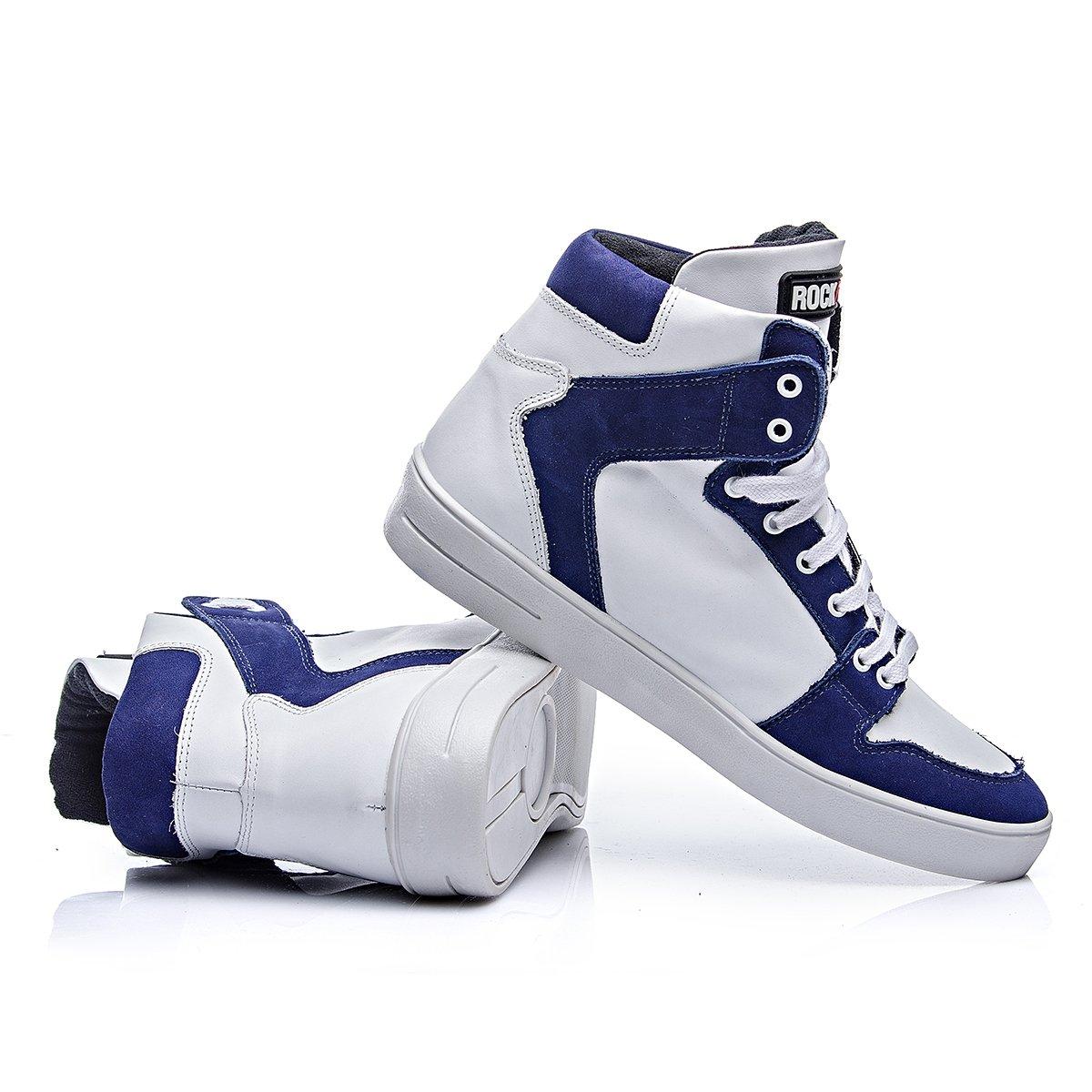 Azul Tenis Branco Em Couro Rock Milao Fit Azul e Branco E OO80q1w