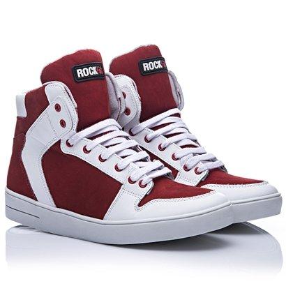 Tênis Rock Fit Milao Em Couro Vermelho E Branco