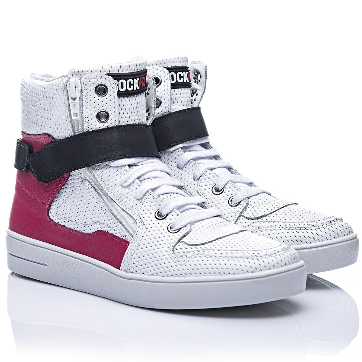 Rosa Fit Em Rosa Branco Couro Rock Tenis e Branco Seattle 4v6nwq