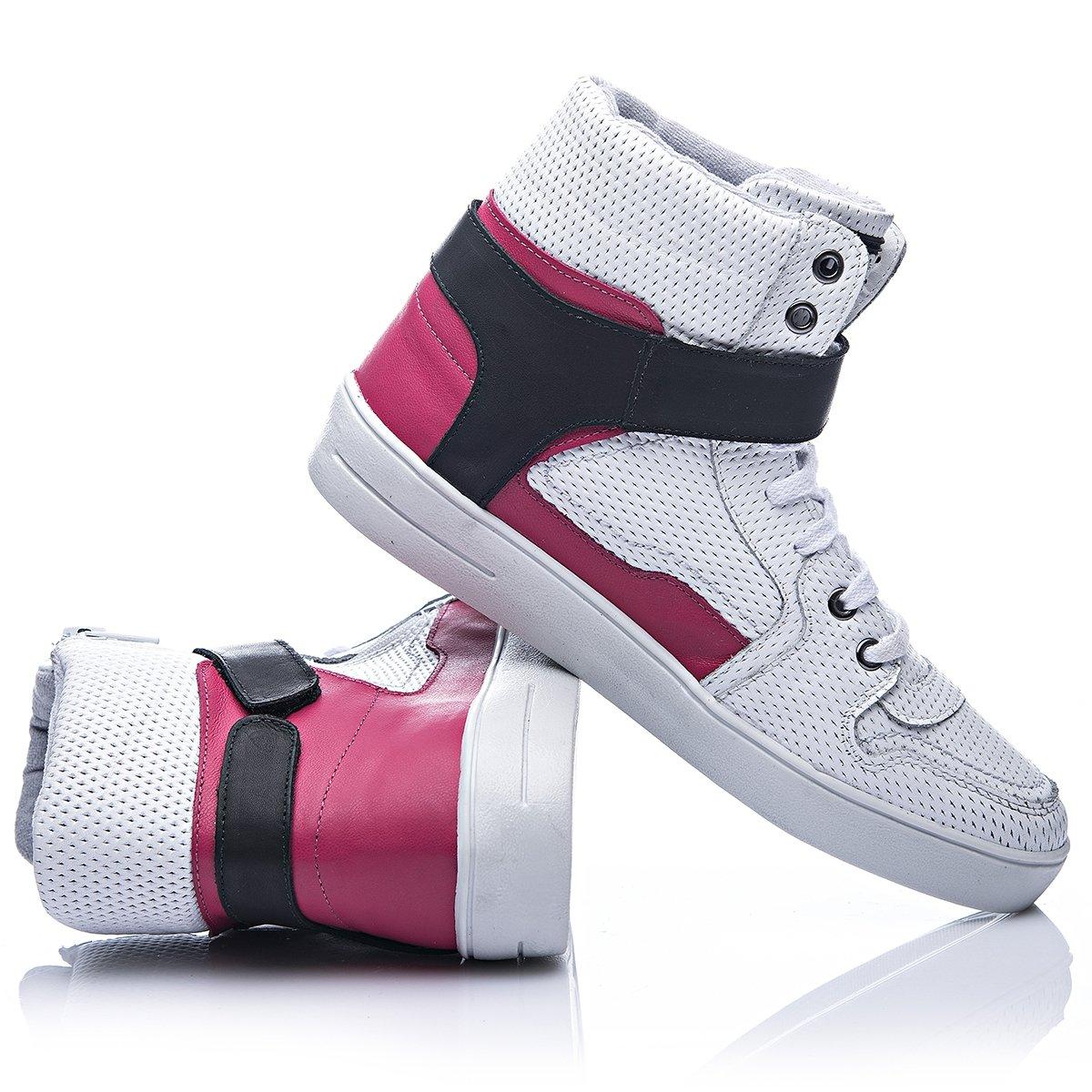 Tenis Em Couro Fit Rosa Seattle Branco Rock e Rosa Branco 1wn1xRrq