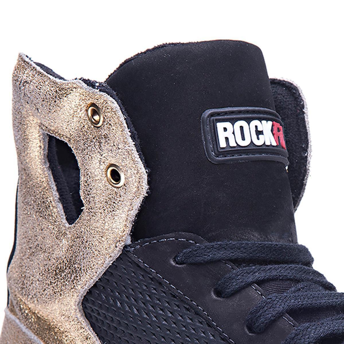 Dourado Dourado Preto Preto Couro Tênis Tênis Scorpions Rockfit Scorpions Em e Rockfit Couro Em e TxdwqxnS6