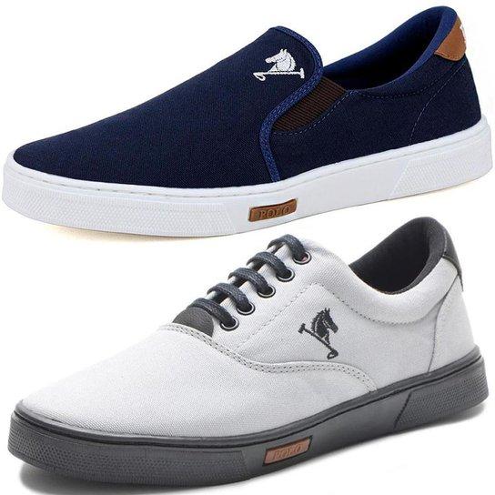Tenis Sapatenis Sapato Casual E Iate Sem Cardarço Elastico Polo Joy Kit 2 Pares - Azul+Cinza