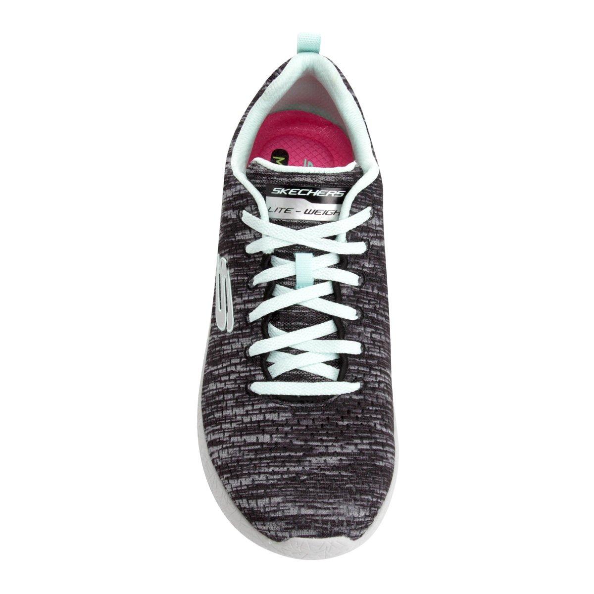Tênis Skechers Burst-New Influence Feminino - Preto e Azul claro ... 38734b4532b76