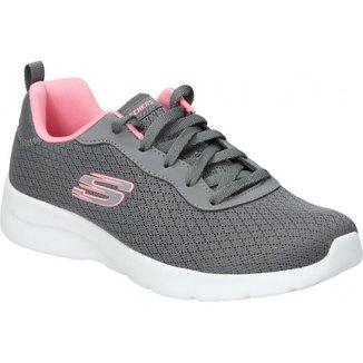 Tênis Skechers Dynamight 2.0 Feminino - Cinza e Rosa
