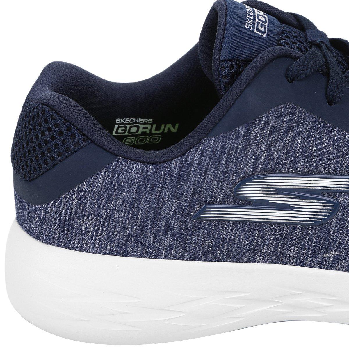 Feminino Go Skechers Skechers Azul 600 Run 600 Escuro Go Tênis Feminino Divert Divert Tênis Run ptxx7aq8w