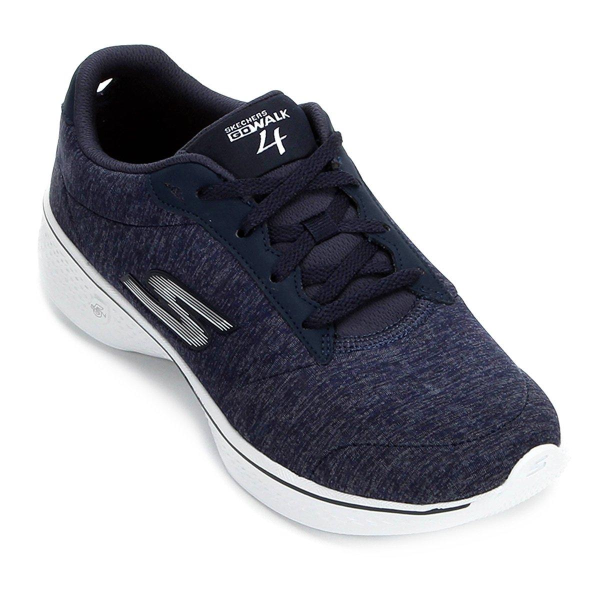 7f627cd92db Tênis Skechers Go Walk 4 Serenity Feminino - Azul e Branco - Compre Agora