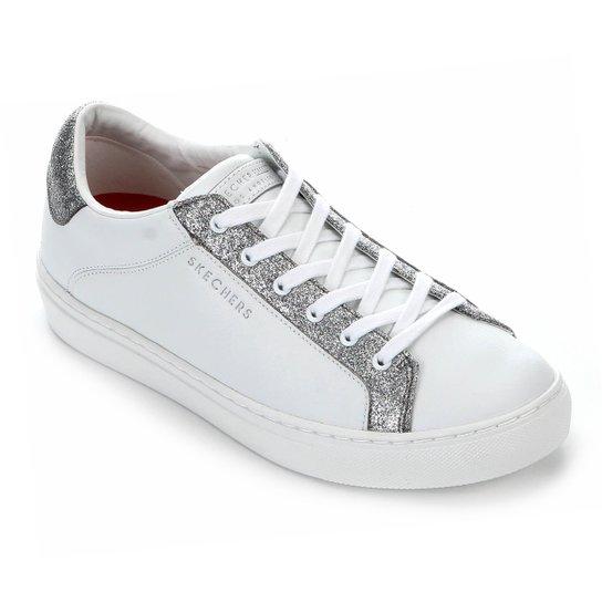 Tênis Skechers Side Street Glitz Kickz Feminino - Branco+prata