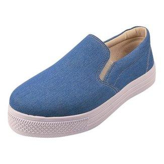 Tênis Slip On Feminino Jeans Liso Confortável Casual
