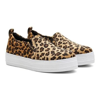 Tenis Slip On Vicerinne Casual Animal Print Feminino