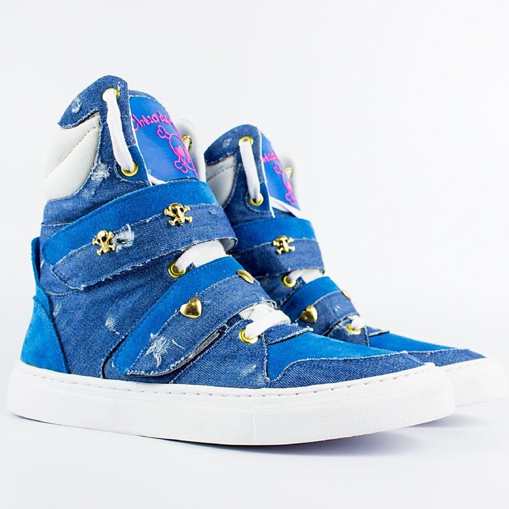 Azul Cano Marra de Sneaker Claro Feminino Cheia Alto Tenis tIa0wqI