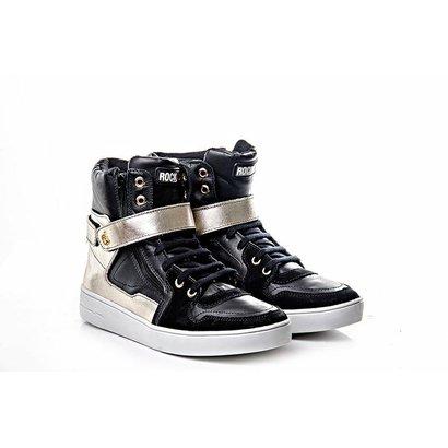 Tênis Sneaker Rock Fit Couro Nobuck - Feminino - Preto