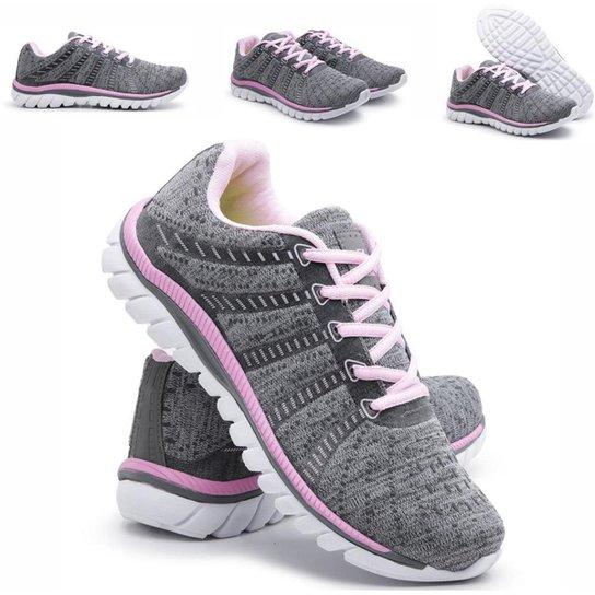 Tênis Sneaker  Simon Vergan Caminhada Confort Casual Feminino - Cinza+Rosa