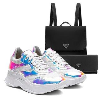 Tênis Sneaker Vicerinne Feminino Tie Dye + Mochila +Carteira