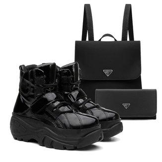 Tênis Sneaker Vicerinne Feminino Verniz + Mochila + Carteira