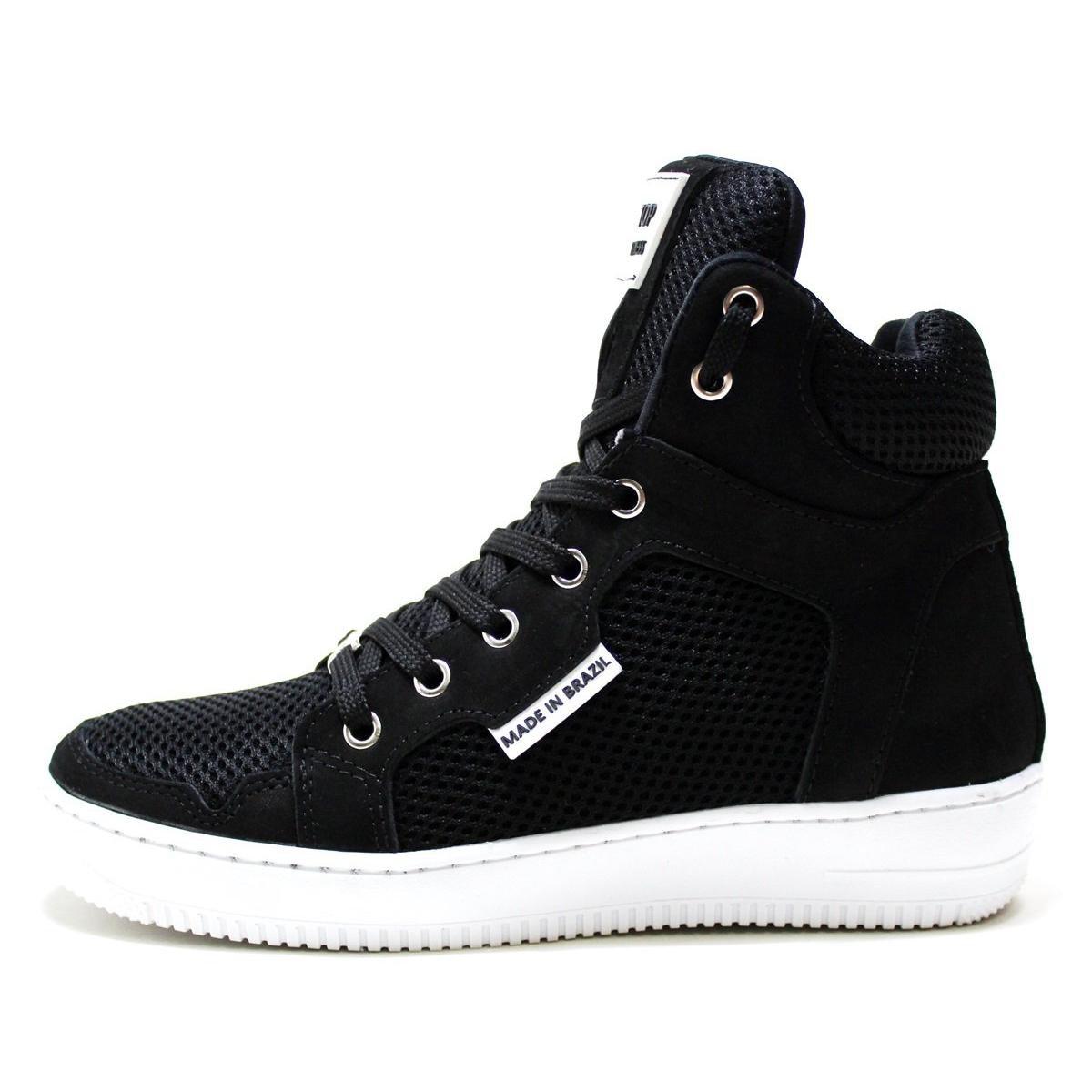 Tênis Sneaker Top Fitness Cano Alto Em Couro Masculino