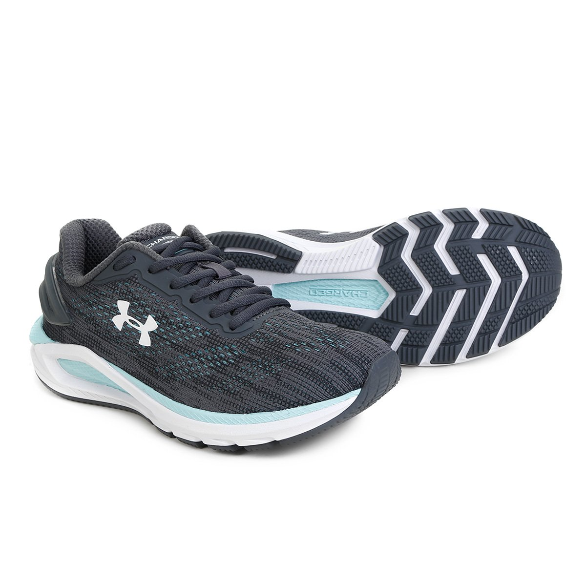 Tênis Under Armour Charged Carbon Masculino - Cinza e Verde Água