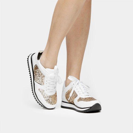 Tênis Vizzano Jogging Glitter - Branco+dourado