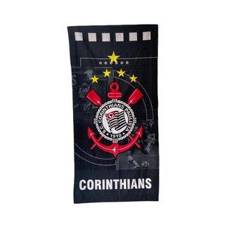 Toalha de Banho Praia Corinthians Aveludada 100% Algodão