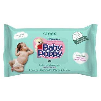 Toalha Umedecidas Baby Poppy Sensitive com 50 Unidades