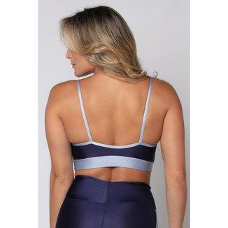 Top Água E Luz Poliamida azul com detalhe tela feminino