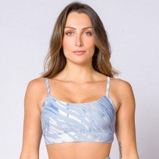 Top camiseta poliamida de suplex estampado azul feminino Água e Luz