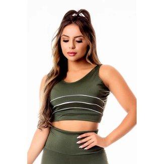 Top Cropped Feminino Fitness Academia Verde Militar com Vivo Branco