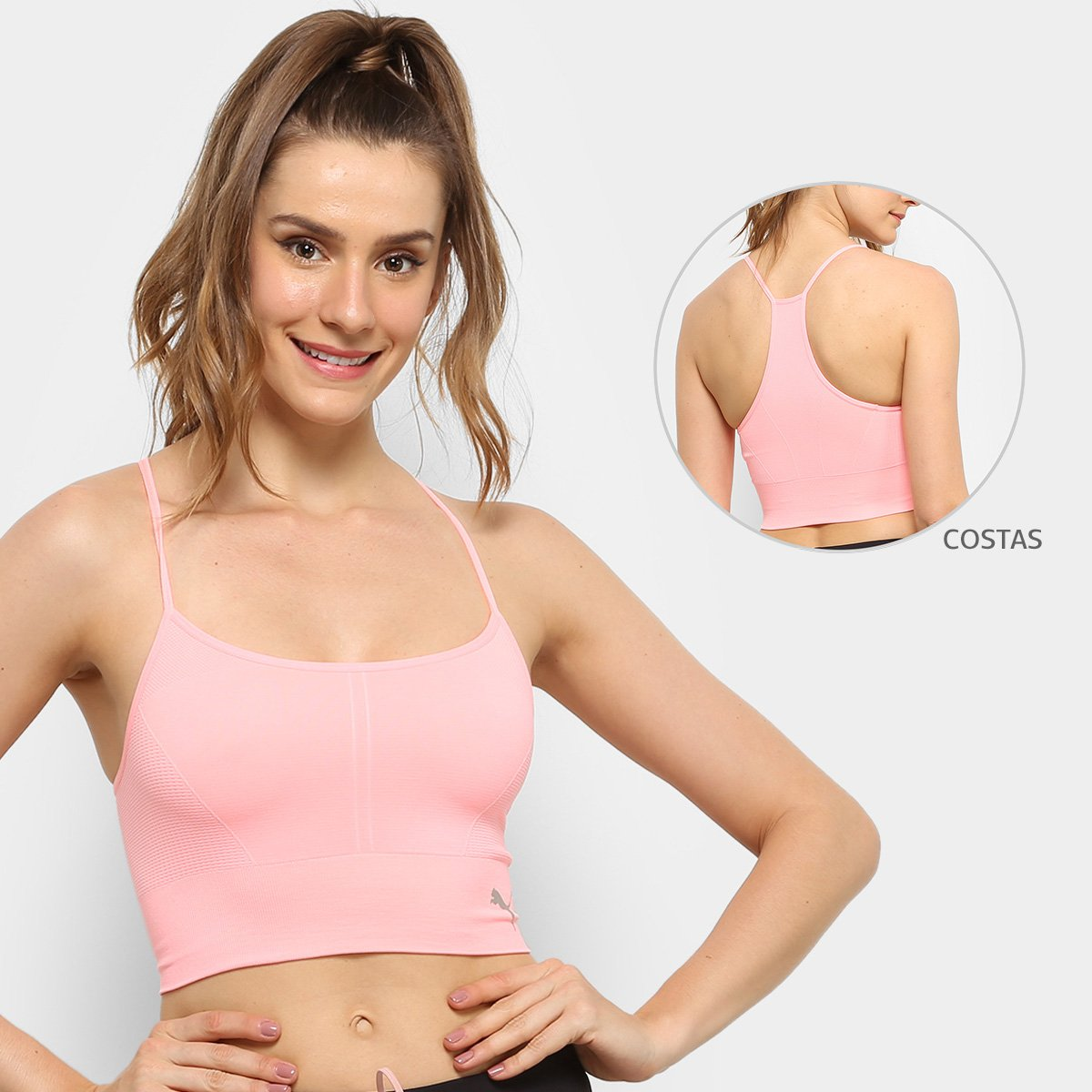 gene Lirio Resaltar  Top Cropped Puma Evoknit Seamless   Netshoes