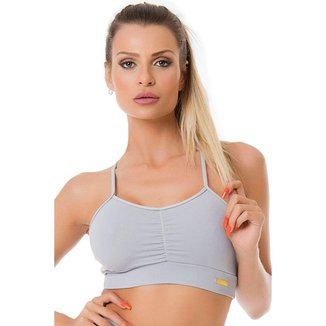 Top Drapeado Em Poliamida Moda Fitness Gliter 1025C