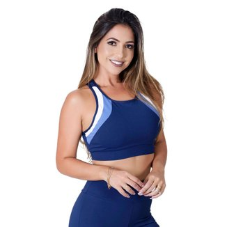 Top  Em Poliamida Com Detalhe Bicolor Fitness  1005A