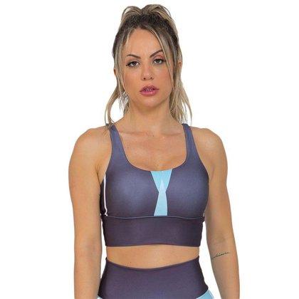 Top Feminino Fitness Black Stripes Preto Azul