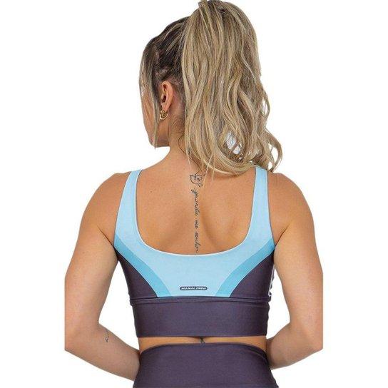 Top Feminino Fitness Black Stripes Preto Azul - Preto+Azul