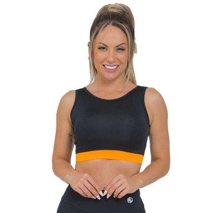Top Feminino Fitness Cropped Laranja