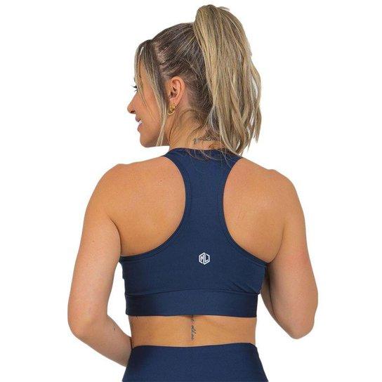 Top Feminino Fitness Nadador Sem Bojo Azul Escuro - Azul Escuro