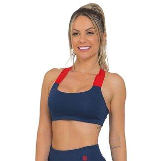 Top Feminino Fitness Neon Azul Escuro