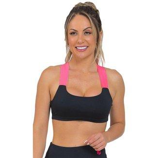 Top Feminino Fitness Neon Preto