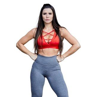 Top Feminino Fitness Poliéster Jojo Vermelho