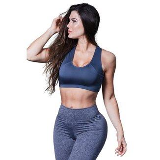 Top Feminino Fitness Poliéster Larrisa Cinza
