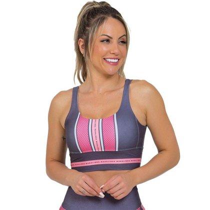 Top Feminino Fitness Rosa Chumbo