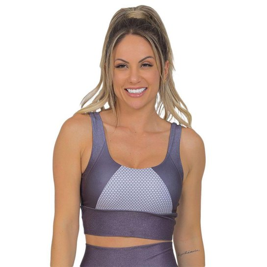 Top Feminino Fitness Xtreme Prata - Prata
