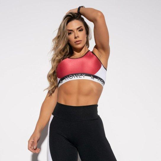 Top Fitness Elástico Feminino - Rosa+Branco