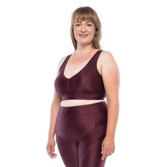 Top Fitness  Plus Size Plus Color  - Bordô Escuro Top Fitness Plus Size Plus Color - Bordô Escuro -