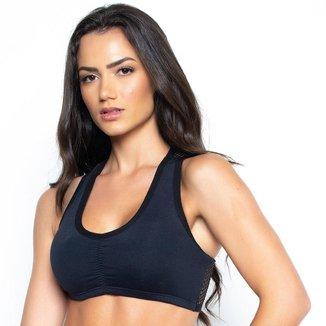 Top Fitness St Madame Preto com Costas em Tela